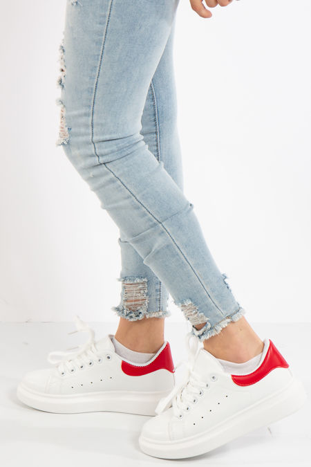 Alexandra Red Chunky Sole Trainers