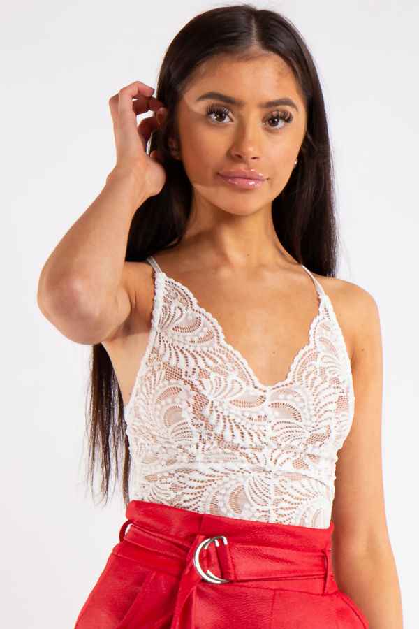 18c35a35ae76 Kendra White Lace Cross Back Bodysuit