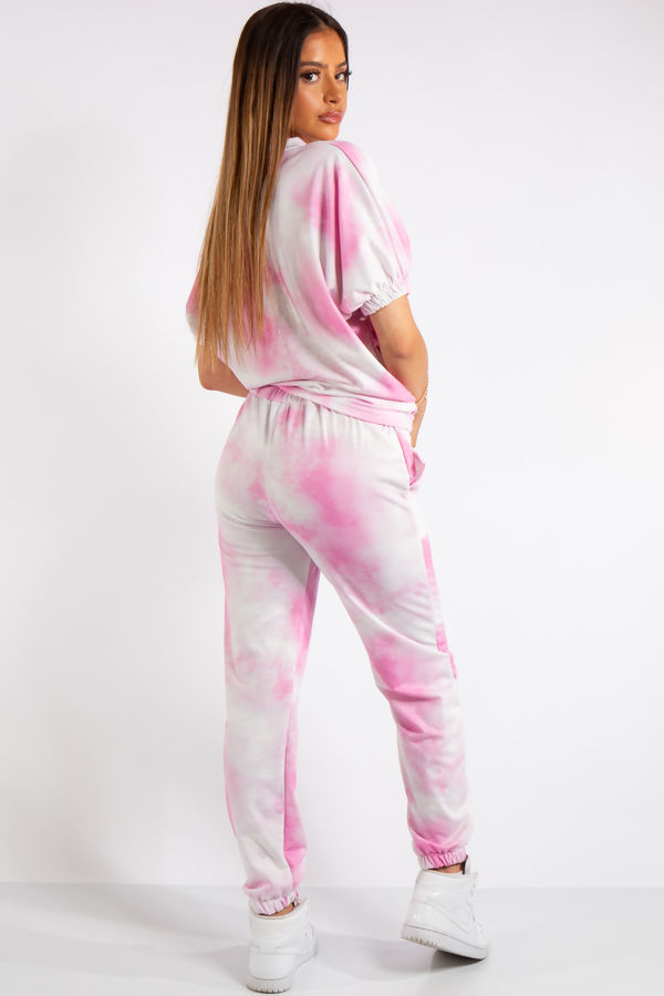 Belle Pink Tie Dye Tracksuit Set