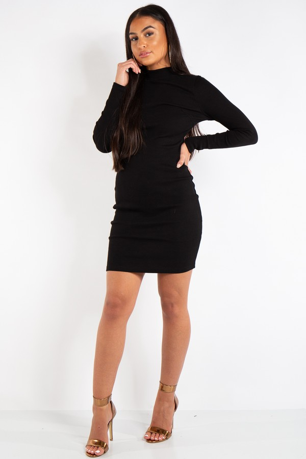 bd824209d19 Clara Black Ribbed Open Back Mini Dress