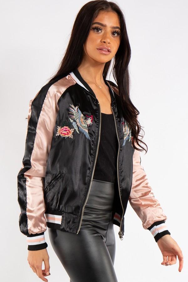 Chloe Black and Rose Gold Satin Bomber Jacket