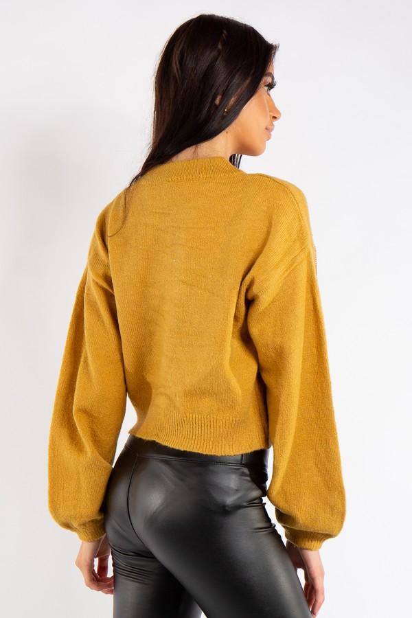 Zara Mustard Diamant 233 Detail Luxury Knit Jumper
