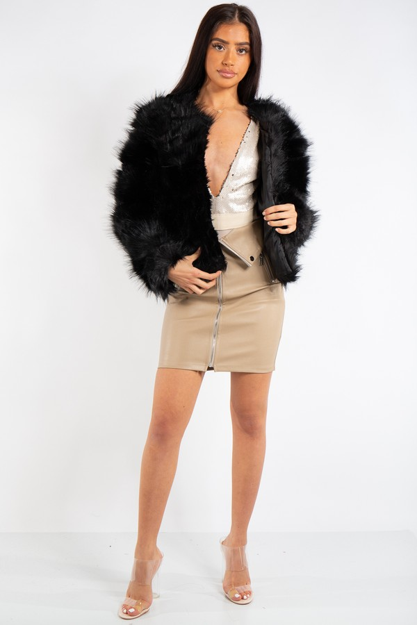 Aurora Black Cropped Shaggy Faux Fur Coat