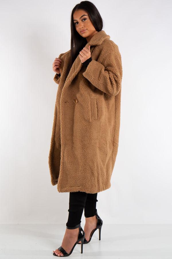 Camel Borg Longline Coat