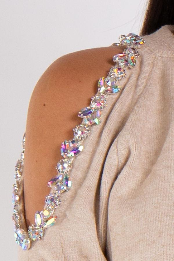 Heaven Beige One Shoulder Gem Embellishment Loungewear Set