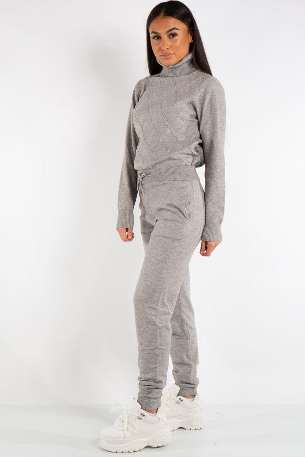 Lexi Grey Turtle Neck Diamond Design Loungewear Set