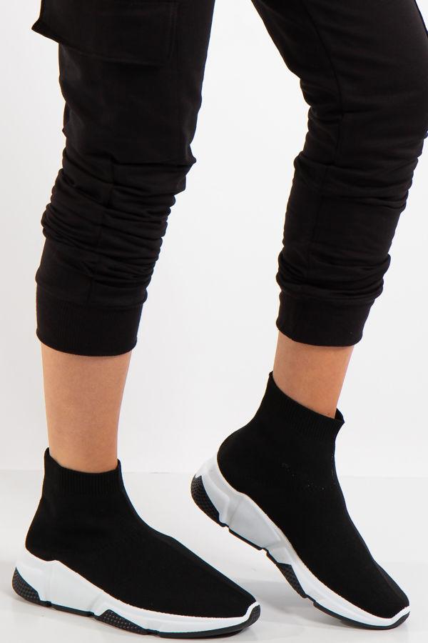 Black sole Stretch Black Knit High