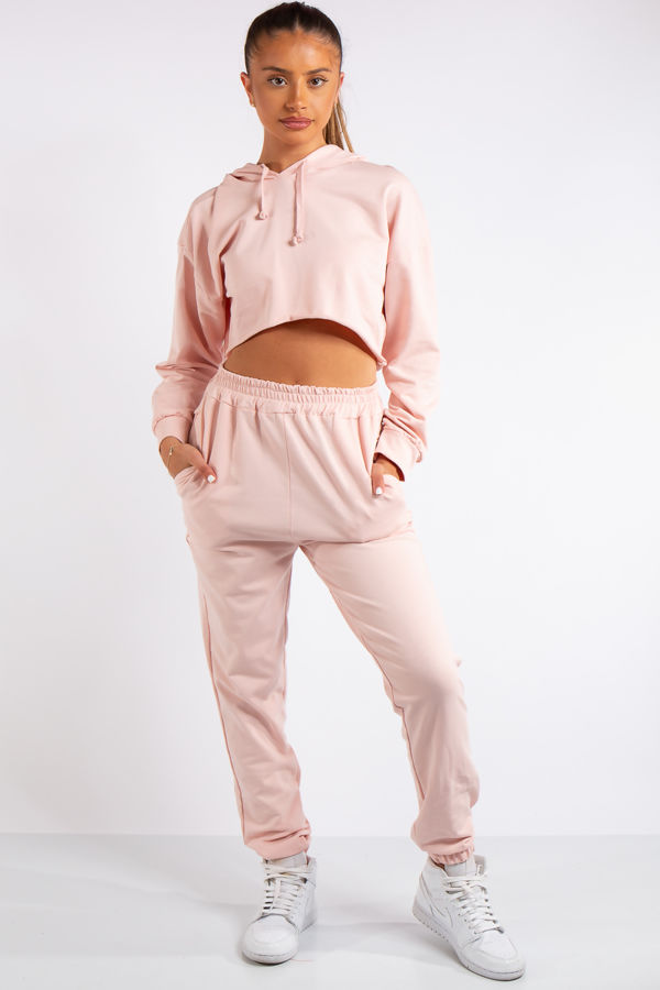 Maxine Pink Cropped Tracksuit Set