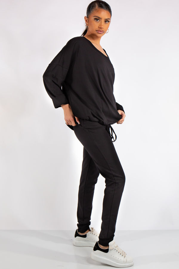 Isabella Black Jersey 3 Piece Loungewear Set