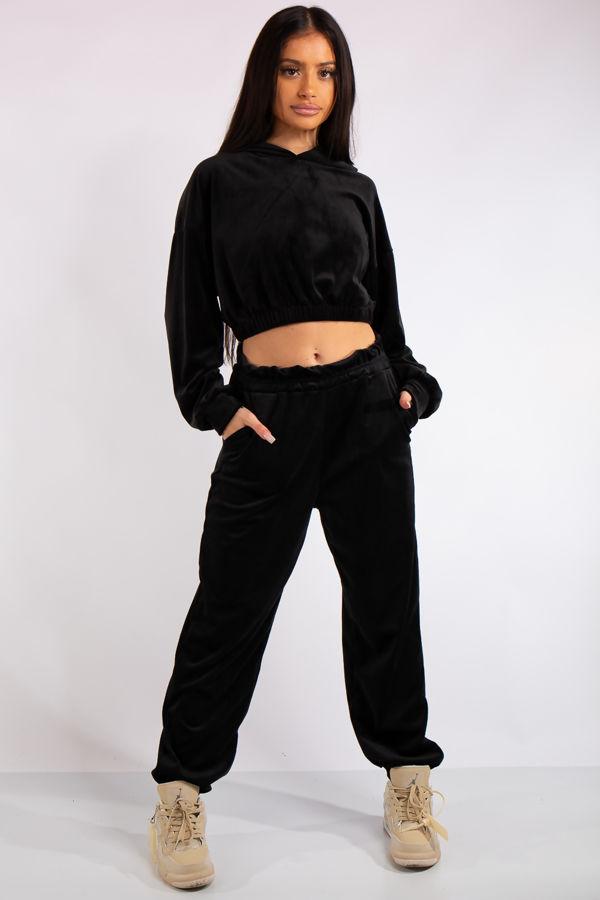 Amelia Black Velour Cropped Hoodie Loungewear Set