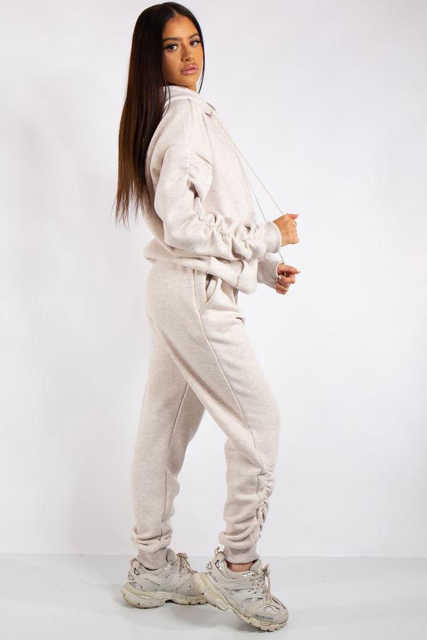 Layla Stone Ruched Oversized Tracksuit Loungewear Set