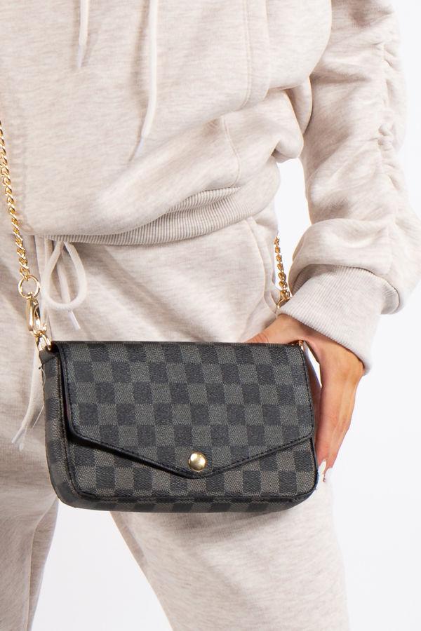 Mae Black Checked Mini Crossbody / Clutch Bag