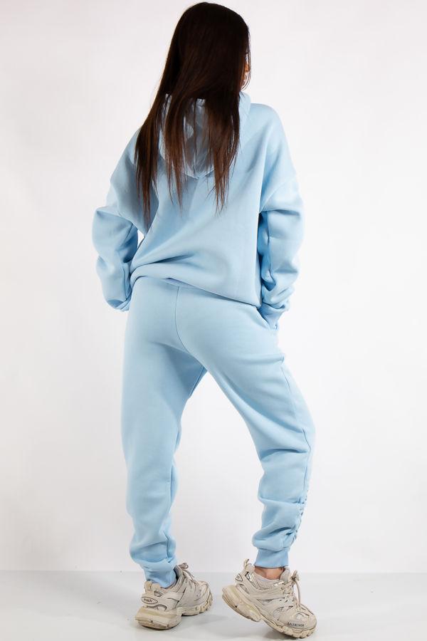 Layla Blue Ruched Oversized Tracksuit Loungewear Set