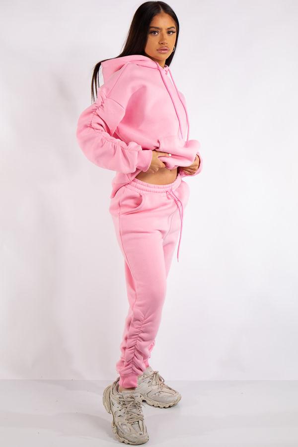 Layla Pink Ruched Oversized Tracksuit Loungewear Set
