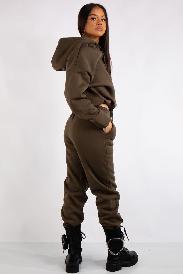 Riley Khaki Fleece Jersey Tracksuit Set