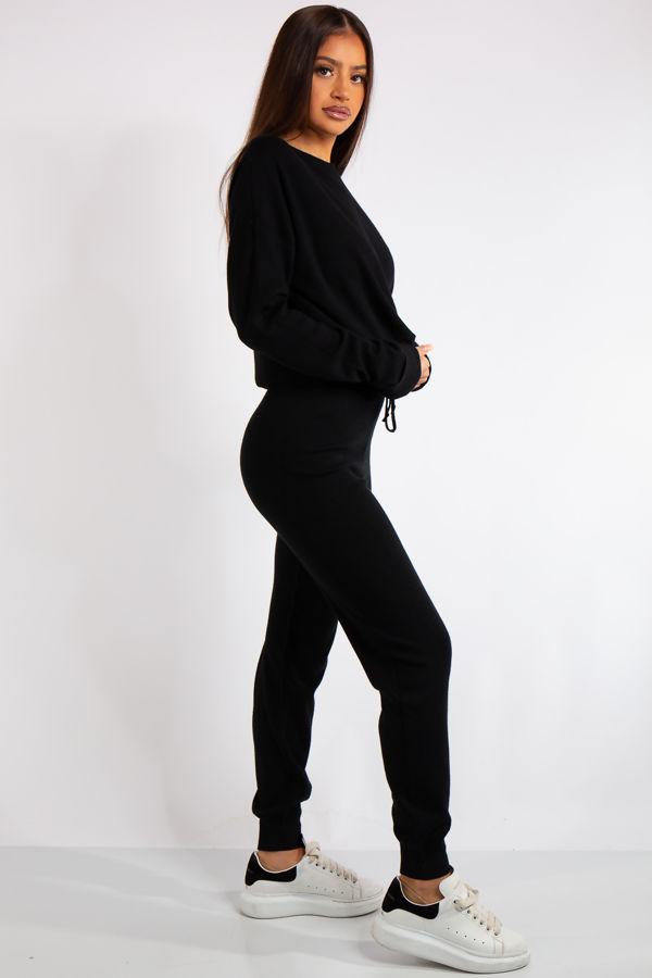 Carlee Black Knit Loungewear Tracksuit Set
