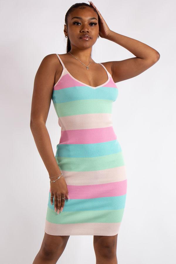 Leyla Pink Pastel Rainbow Mid Dress