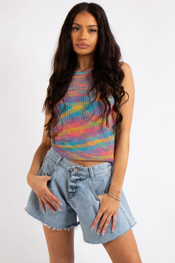 Delilah Pink Stripe Knitted Sleeveless Top