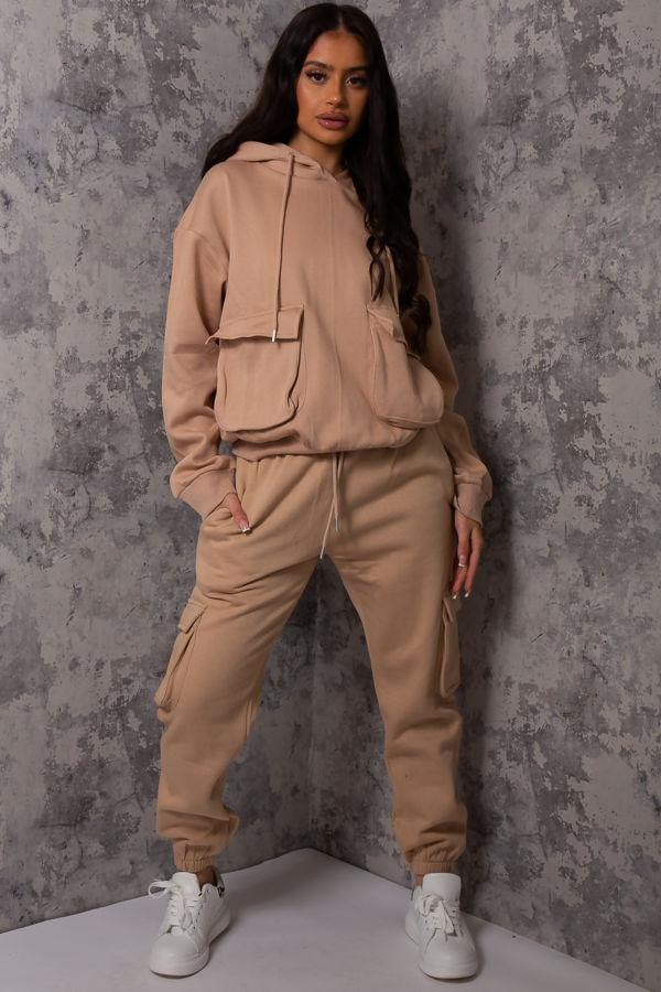Luna Camel Pocket Detail Hooded loungewear set