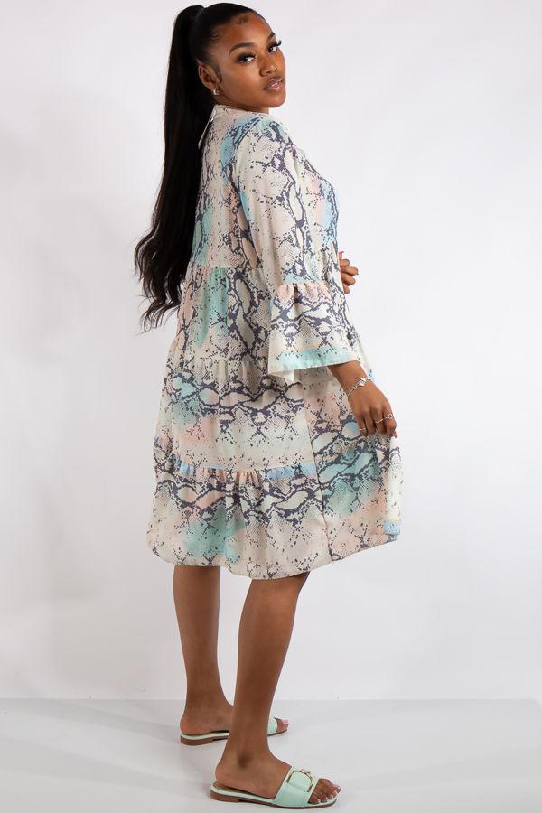 Serenity Pastel Snake Print Dress