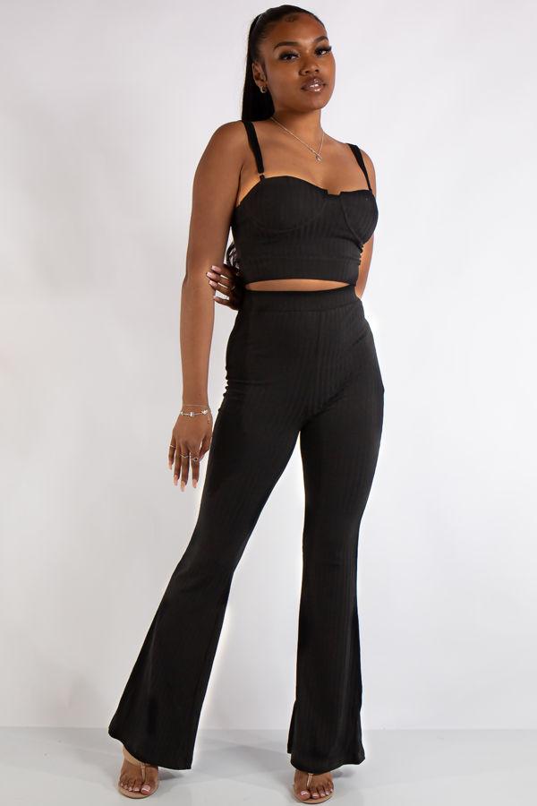 Bella Black Ribbed Bralet Trouser Co Ord Set