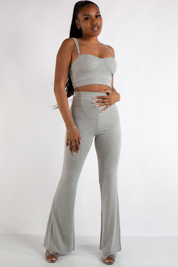 Bella Grey Ribbed Bralet Trouser Co Ord Set
