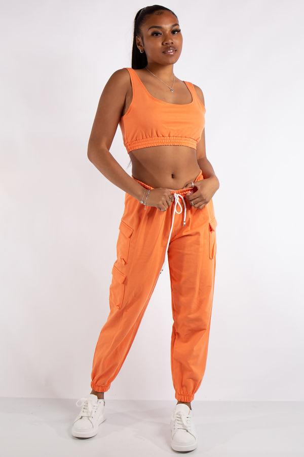 Addison Orange Cropped Tank & Pocket Detail Tracksuit Set