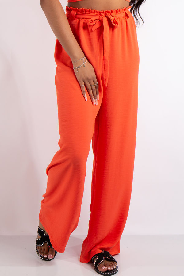 Alice Coral Chiffon Crop Top and Flowy Trousers Co Ord set