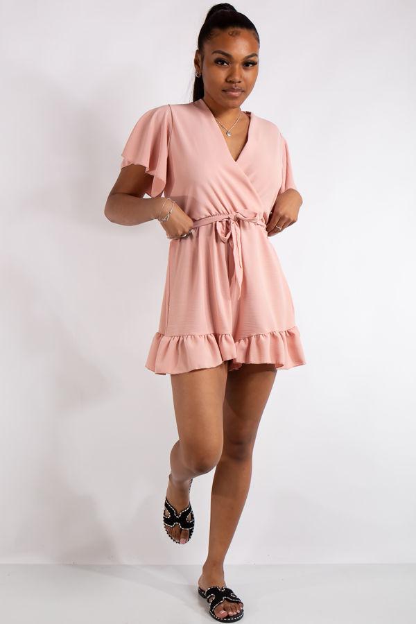 Gianna Pink Basic Ruffle Playsuit
