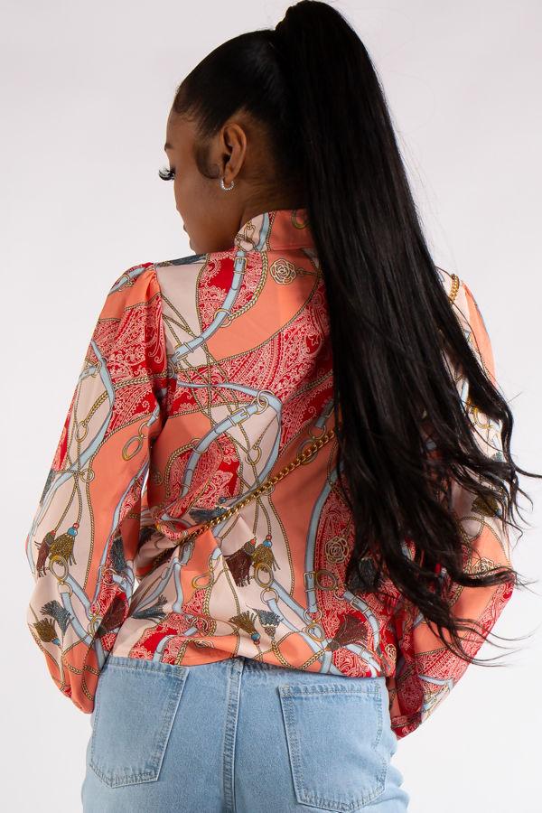 Quinn Orange Scarf Print Chain Shirt