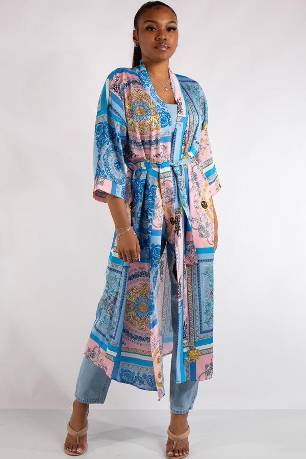 Blue Scarf Print Kimono