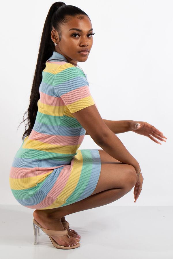 Kate Pastel Stripe Collar Dress