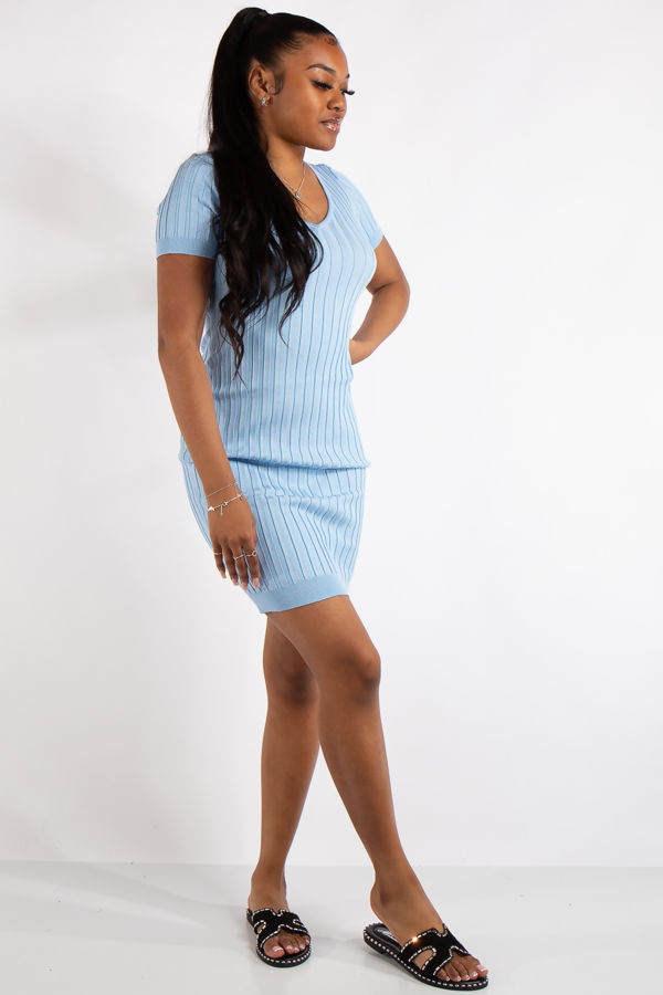 Piper Blue Ribbed Basic Mid Dress
