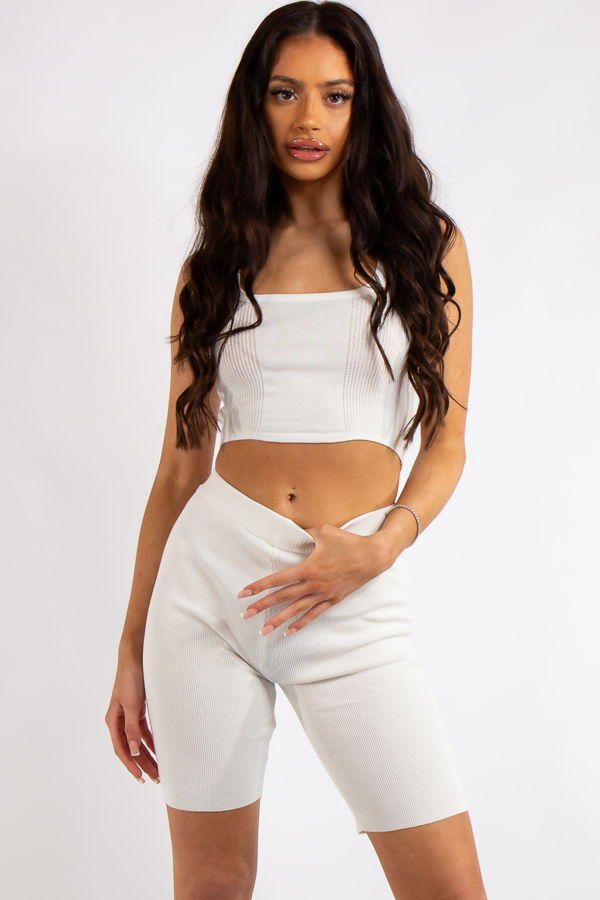Crystal White Glam Knit Cycling Short Co Ord Set