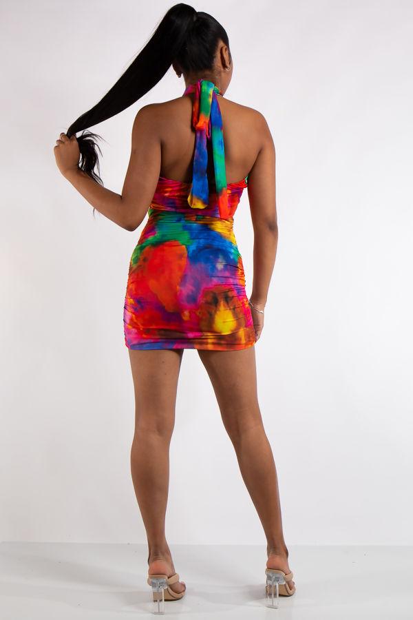 Julia Red Tie Dye Halter Neck Mini Dress