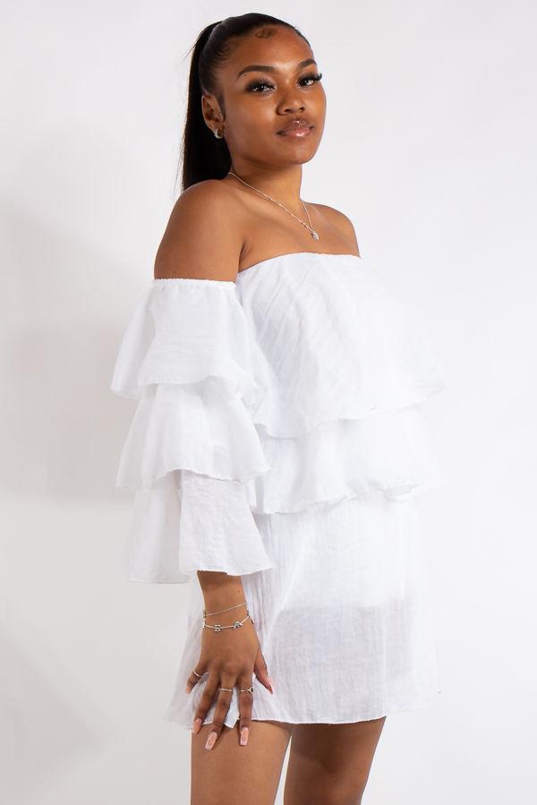 Clara White Bandeau Ruffle Dress