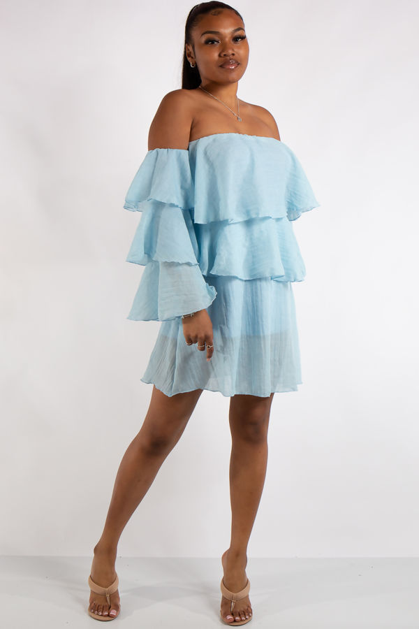 Clara Blue Bandeau Ruffle Dress