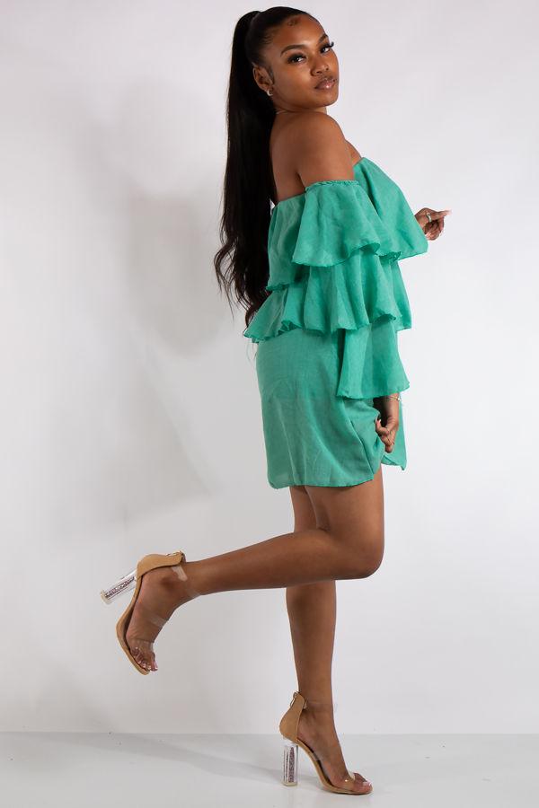 Clara Green Bandeau Ruffle Dress
