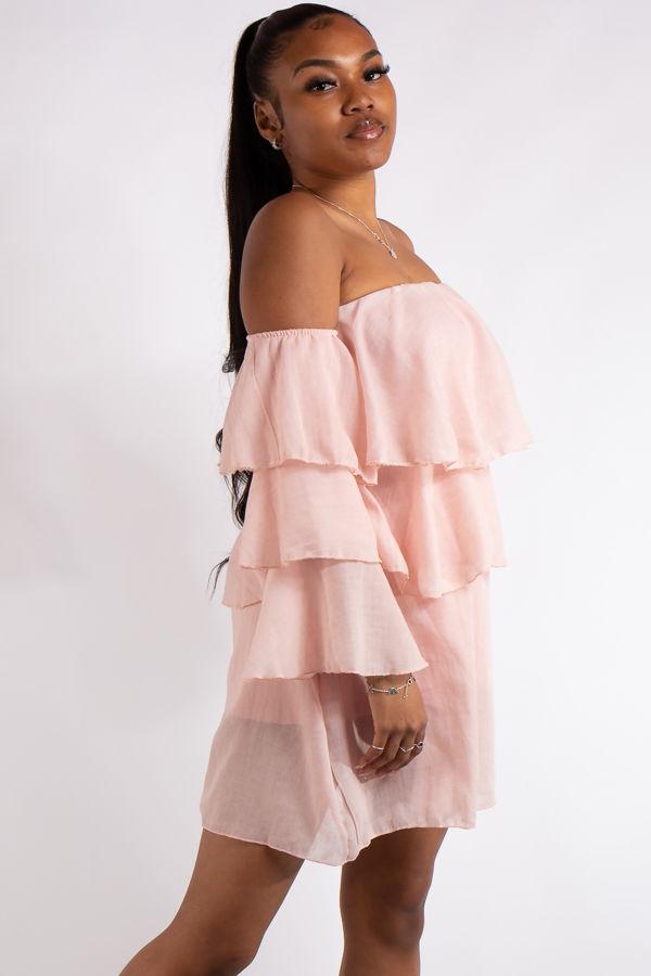 Clara Pink Bandeau Ruffle Dress