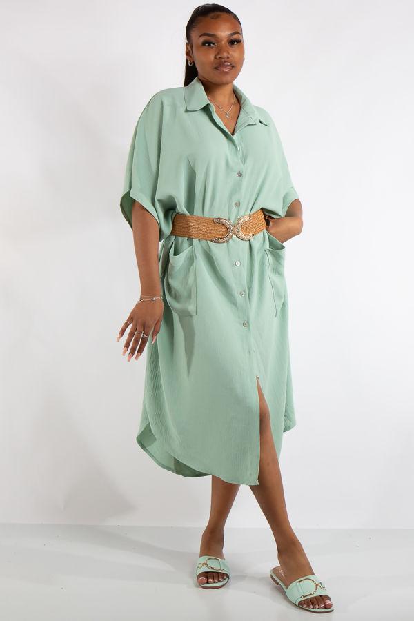 Freya Green Oversized Shirt Dress