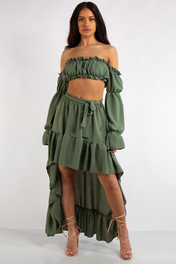 Savannah Khaki Frill Crop Top and High low skirt Co Ord set