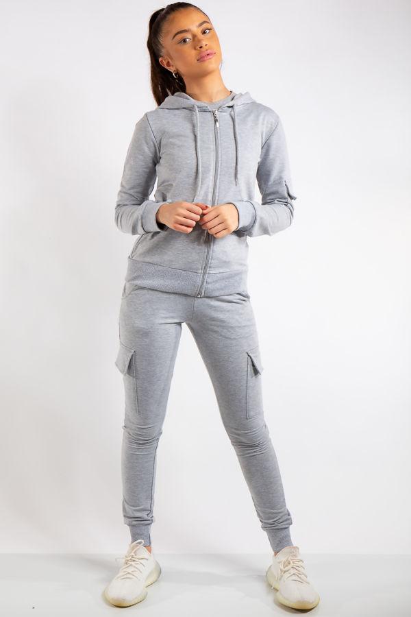 Mina Grey Zip Top and Cargo Pants Loungewear set