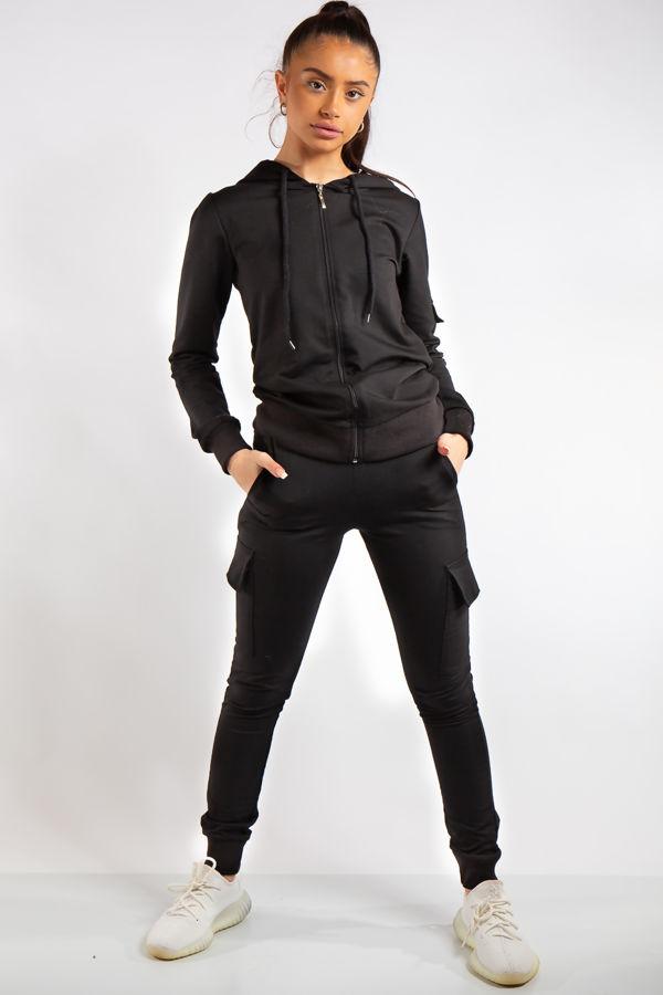 Mina Black Zip Top and Cargo Pants Loungewear set