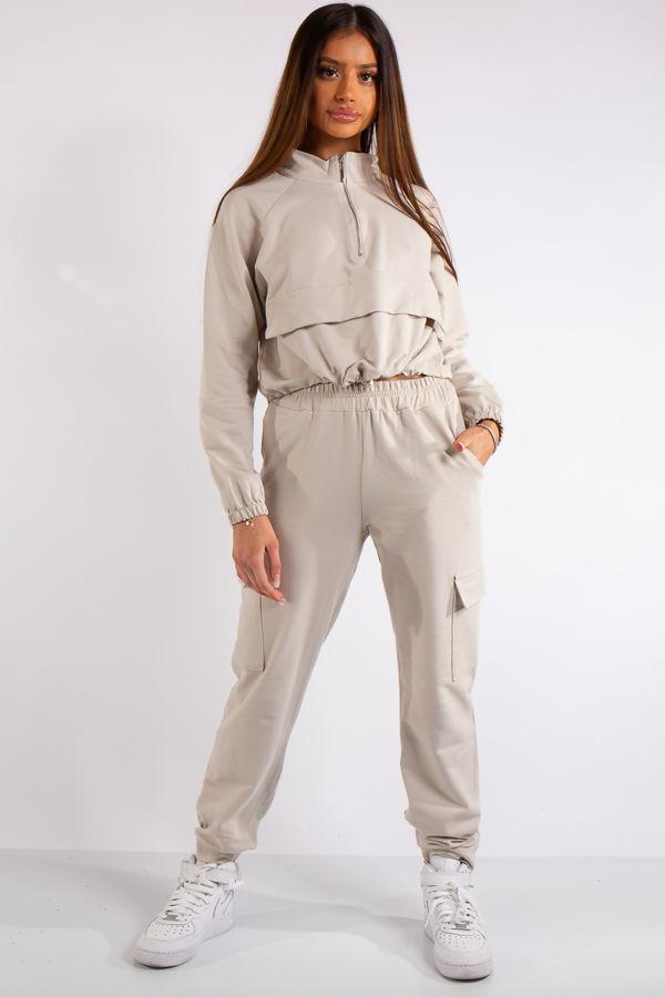 Zaria Stone Pocket & Zip Detail Loungewear Set